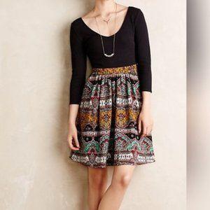 Anthropologie Maeve 10 Black Fit & Flare Dress